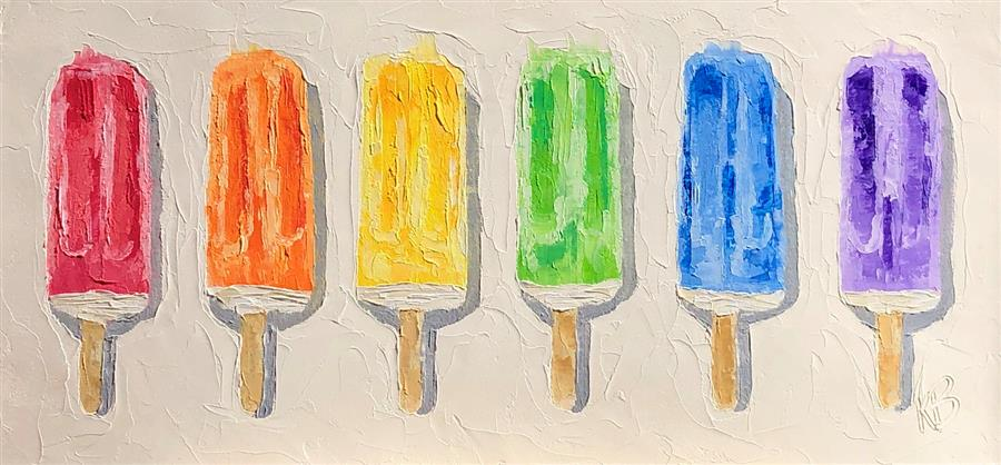 Original art for sale at UGallery.com | A Rainbow of Popsicles by Karen Barton | $375 | oil painting | 8.75' h x 18.5' w | ..\art\oil-painting-A-Rainbow-of-Popsicles
