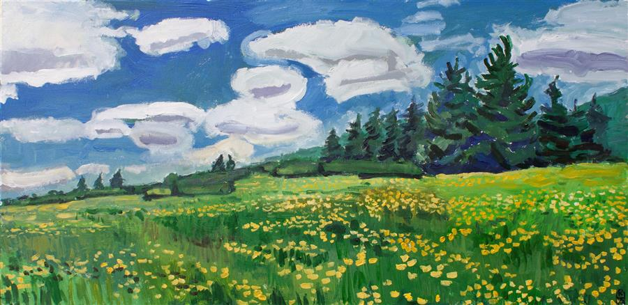 Original art for sale at UGallery.com   Uplands by Robert Hofherr   $2,250   acrylic painting   24' h x 48' w   ..\art\acrylic-painting-Uplands