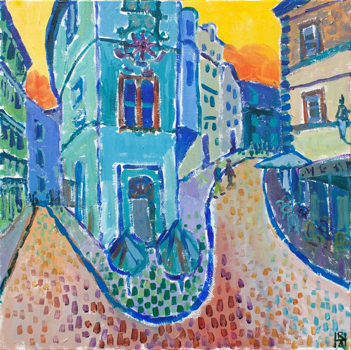 Original art for sale at UGallery.com   Montmartre Blues by Robert Hofherr   $1,325   acrylic painting   24' h x 24' w   ..\art\acrylic-painting-Montmartre-Blues