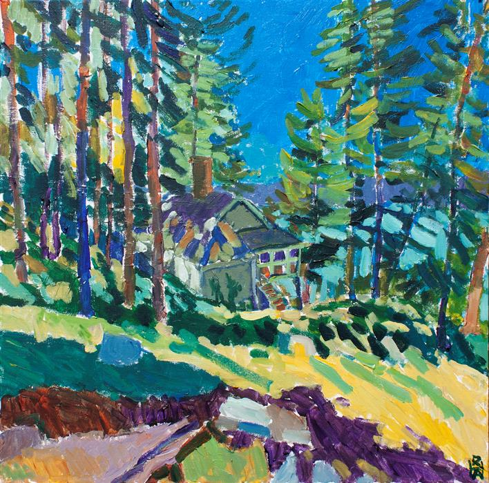 Original art for sale at UGallery.com   Blue Hill by Robert Hofherr   $1,250   acrylic painting   24' h x 24' w   ..\art\acrylic-painting-Blue-Hill