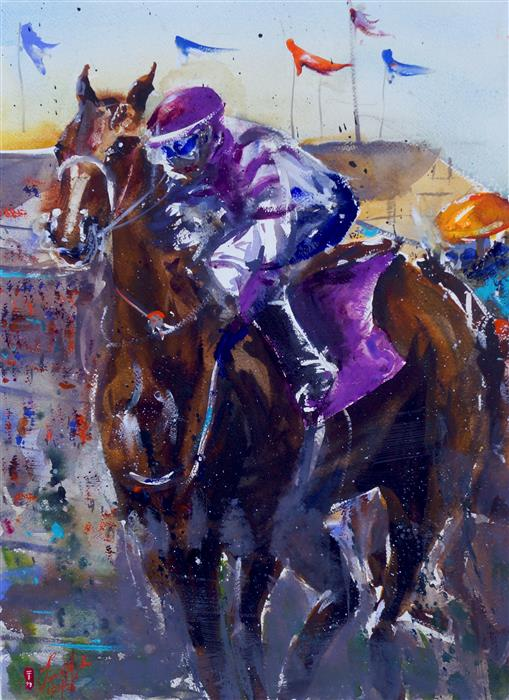 Original art for sale at UGallery.com   Derby 1 by James Nyika   $900   watercolor painting   24' h x 18' w   ..\art\watercolor-painting-Derby-1
