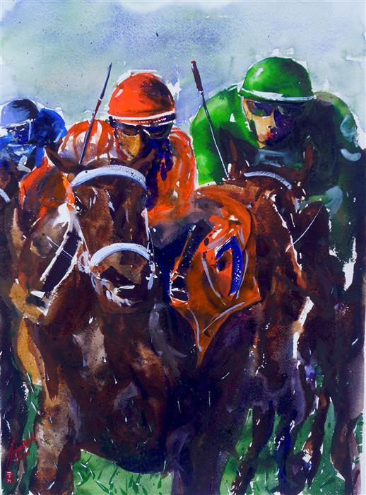 Original art for sale at UGallery.com   Derby II by James Nyika   $900   watercolor painting   24' h x 18' w   ..\art\watercolor-painting-Derby-II