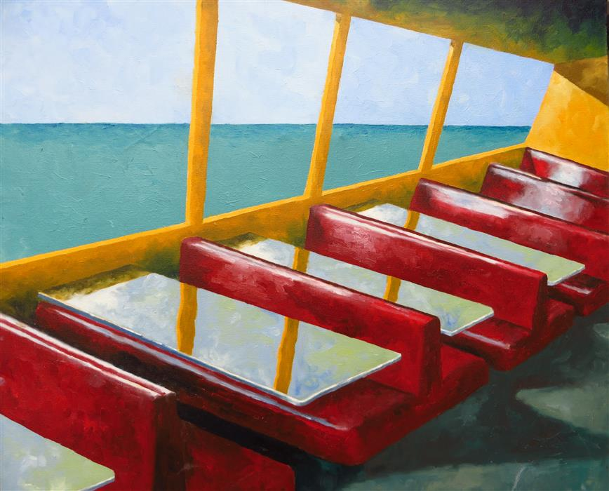 Original art for sale at UGallery.com | Restaurant by the Sea by Mitchell Freifeld | $1,000 | oil painting | 27' h x 32' w | ..\art\oil-painting-Restaurant-by-the-Sea