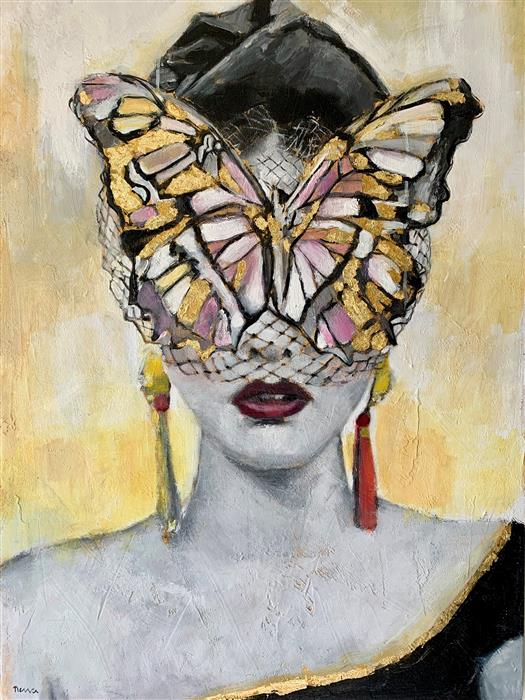 Original art for sale at UGallery.com | Monarch by Nava Lundy | $2,875 | mixed media artwork | 40' h x 30' w | ..\art\mixed-media-artwork-Monarch