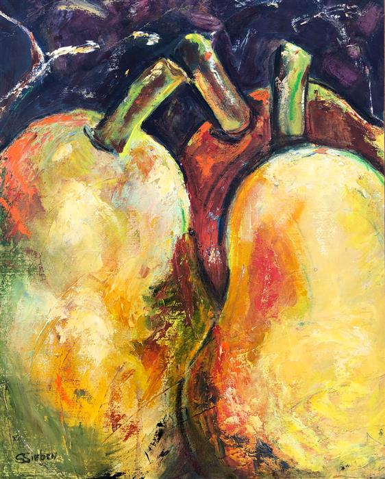 Original art for sale at UGallery.com | Three Pears by Sharon Sieben | $1,225 | oil painting | 30' h x 24' w | ..\art\oil-painting-Three-Pears-72193