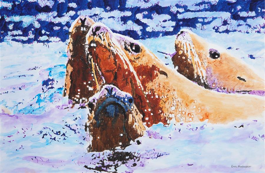 Original art for sale at UGallery.com | Steller Sea Lions at Sea by Emil Morhardt | $1,925 | acrylic painting | 24' h x 36' w | ..\art\acrylic-painting-Steller-Sea-Lions-at-Sea