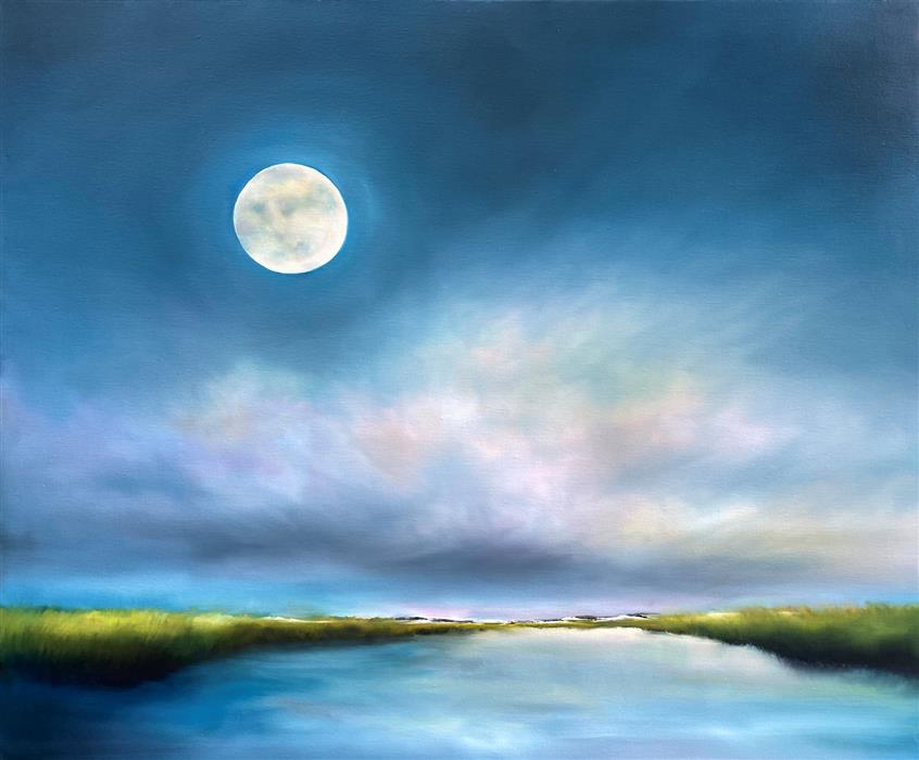 Original art for sale at UGallery.com | Inlet Marsh Moon by Nancy Hughes Miller | $1,900 | oil painting | 30' h x 36' w | ..\art\oil-painting-Inlet-Marsh-Moon