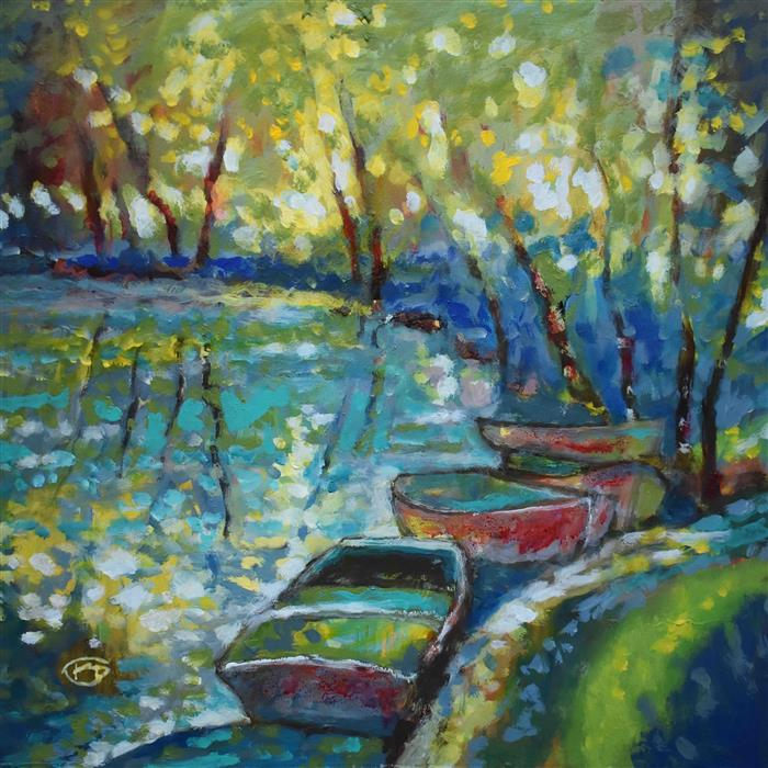 Original art for sale at UGallery.com | Summer Boats 2 by Kip Decker | $2,400 | acrylic painting | 30' h x 30' w | ..\art\acrylic-painting-Summer-Boats-2