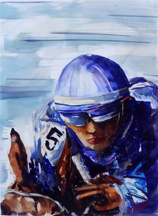 Original art for sale at UGallery.com   The Jockey by James Nyika   $900   watercolor painting   24' h x 18' w   ..\art\watercolor-painting-The-Jockey