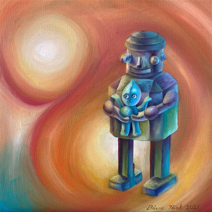 Original art for sale at UGallery.com   Little Love by Diane Flick   $450   oil painting   10' h x 10' w   ..\art\oil-painting-Little-Love