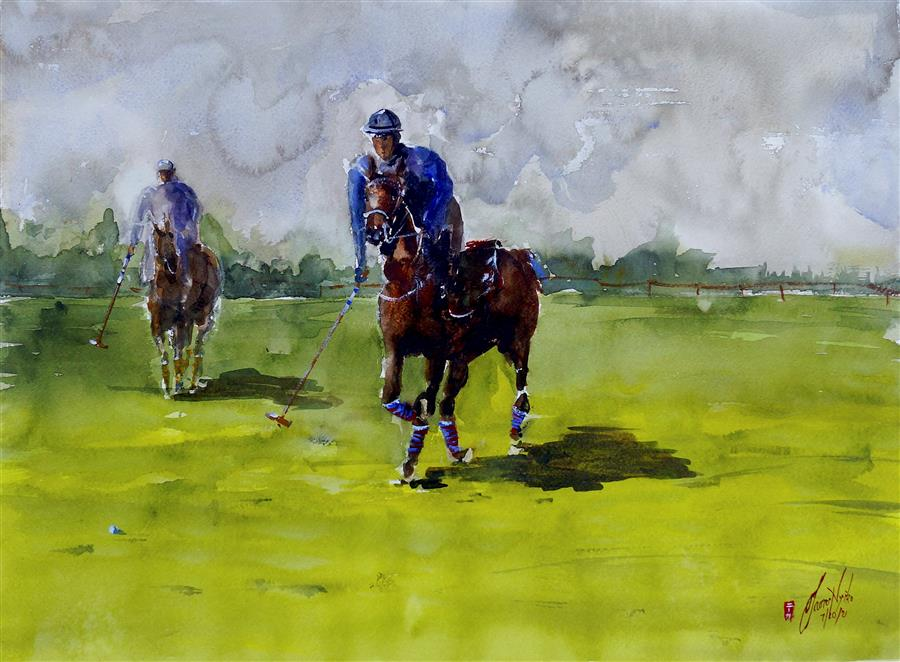 Original art for sale at UGallery.com | Match Time by James Nyika | $800 | watercolor painting | 18' h x 24' w | ..\art\watercolor-painting-Match-Time