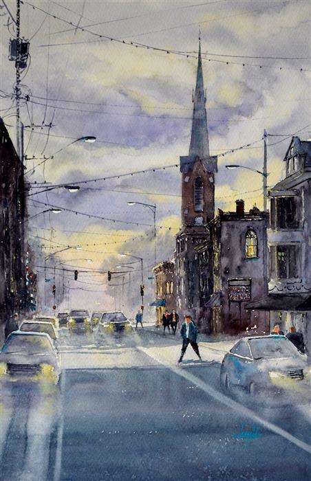 Original art for sale at UGallery.com   The City at Dusk by Judy Mudd   $1,425   watercolor painting   22' h x 15' w   ..\art\watercolor-painting-The-City-at-Dusk