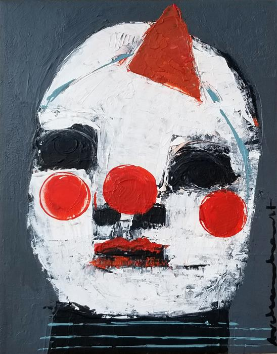 Original art for sale at UGallery.com   Baby Clown by Paulina Archambault   $325   acrylic painting   10' h x 8' w   ..\art\acrylic-painting-Baby-Clown
