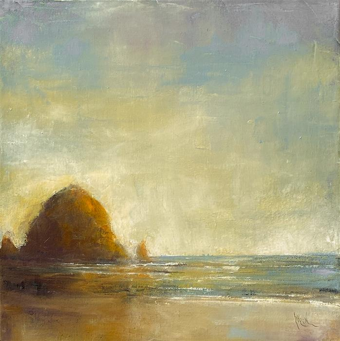 Original art for sale at UGallery.com   Haystack Rock XXVI by Mandy Main   $525   oil painting   12' h x 12' w   ..\art\oil-painting-Haystack-Rock-XXVI