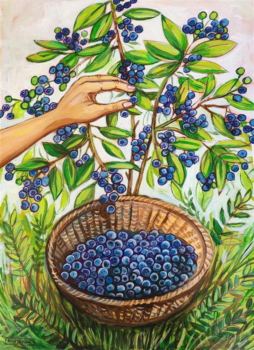 Original art for sale at UGallery.com   Picking Blueberries by Kira Yustak   $900   acrylic painting   24' h x 18' w   ..\art\acrylic-painting-Picking-Blueberries