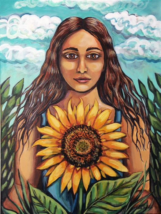 Original art for sale at UGallery.com   The Sunflower by Kira Yustak   $900   acrylic painting   24' h x 18' w   ..\art\acrylic-painting-The-Sunflower
