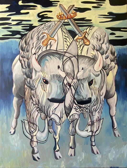 Original art for sale at UGallery.com | Cuddly Bison: Two of Swords by Rachel Srinivasan | $1,900 | oil painting | 48' h x 36' w | ..\art\oil-painting-Cuddly-Bison-Two-of-Swords