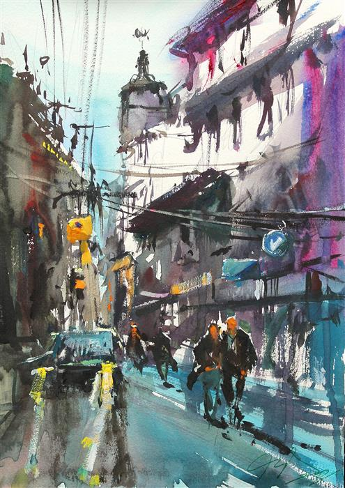 Original art for sale at UGallery.com   Walking Through Tokyo Streets by Maximilian Damico   $550   watercolor painting   11' h x 8.2' w   ..\art\watercolor-painting-Walking-Through-Tokyo-Streets
