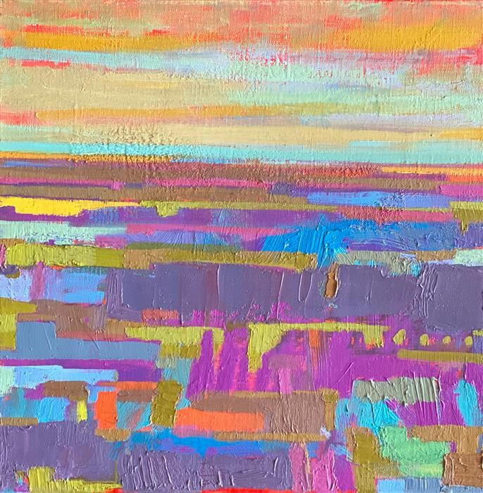 Original art for sale at UGallery.com | Purple Fields and the Horizon 1 by Srinivas Kathoju | $425 | oil painting | 12' h x 12' w | ..\art\oil-painting-Purple-Fields-and-the-Horizon-1