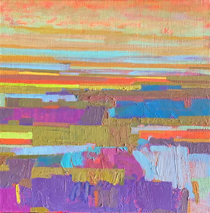 Original art for sale at UGallery.com   Purple Fields and the Horizon 2 by Srinivas Kathoju   $425   oil painting   12' h x 12' w   ..\art\oil-painting-Purple-Fields-and-the-Horizon-2