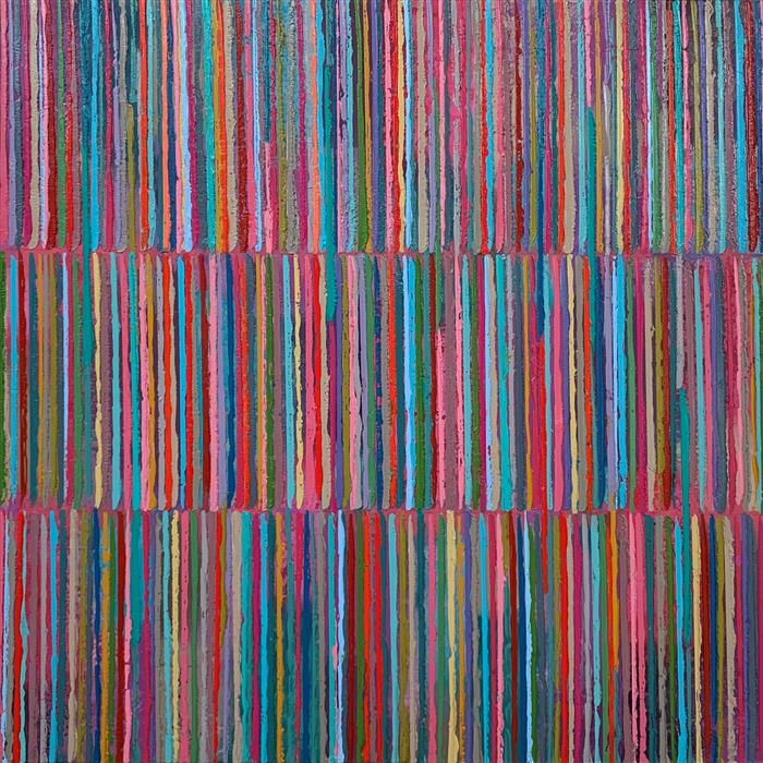Original art for sale at UGallery.com | Triple Stripes C by Janet Hamilton | $2,800 | oil painting | 36' h x 36' w | ..\art\oil-painting-Triple-Stripes-C