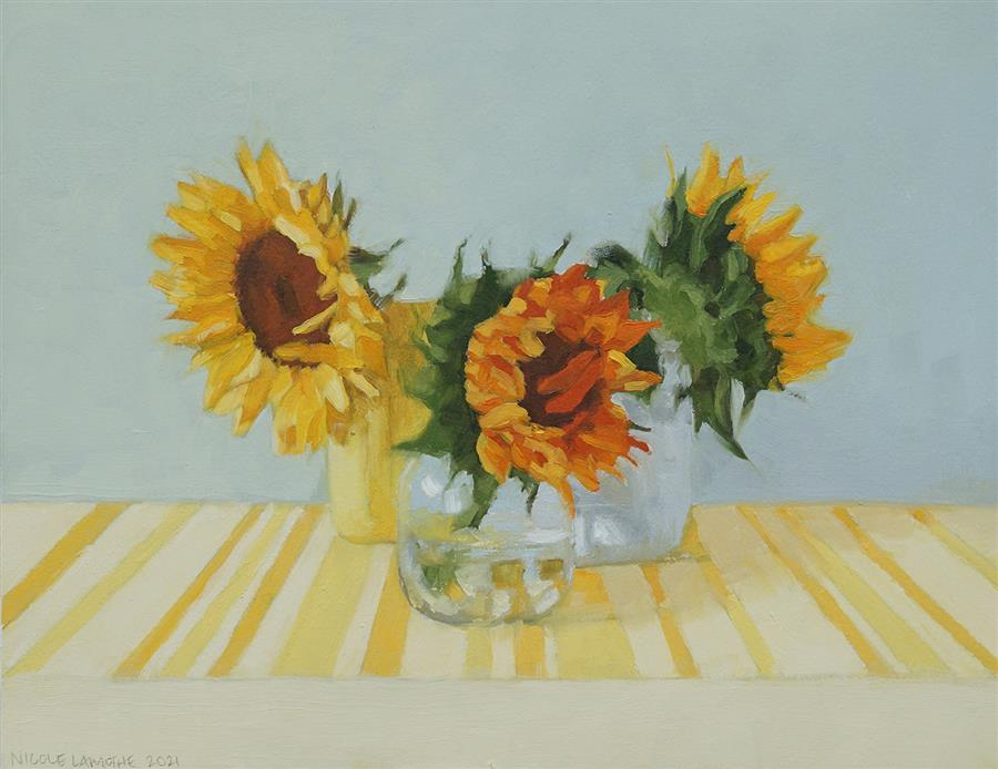Original art for sale at UGallery.com   Sunflowers in Sunlight by Nicole Lamothe   $475   oil painting   11' h x 14' w   ..\art\oil-painting-Sunflowers-in-Sunlight