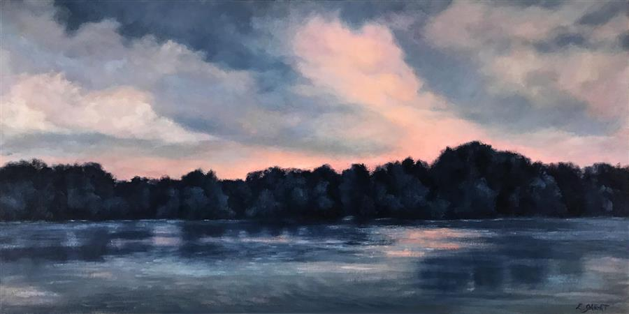 Original art for sale at UGallery.com   Lake at Twilight, Coral and Indigo by Elizabeth Garat   $1,600   oil painting   18' h x 36' w   ..\art\oil-painting-Lake-at-Twilight-Coral-and-Indigo