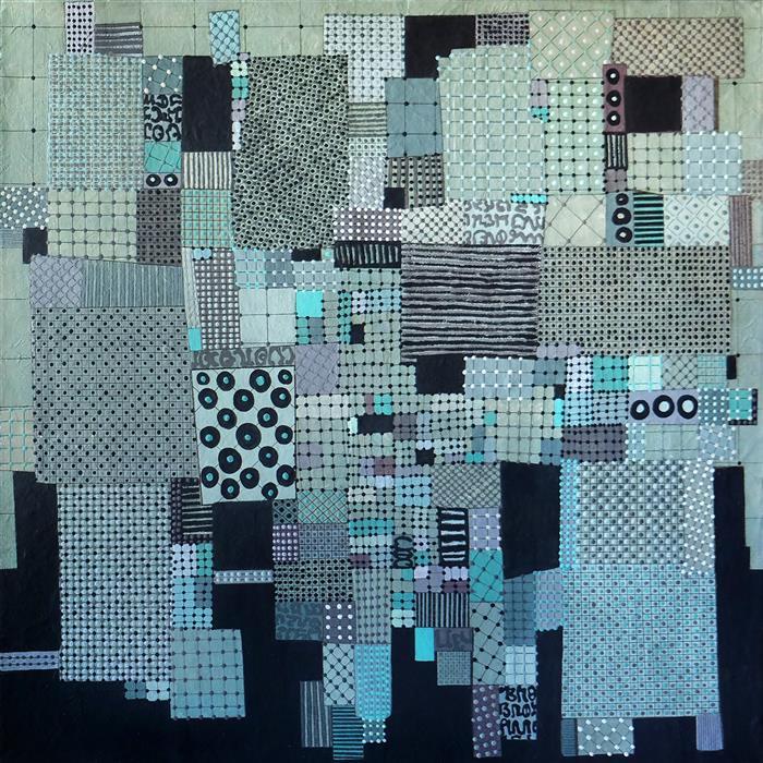Original art for sale at UGallery.com | Green Sky City by Terri Bell | $650 | mixed media artwork | 18' h x 18' w | ..\art\mixed-media-artwork-Green-Sky-City