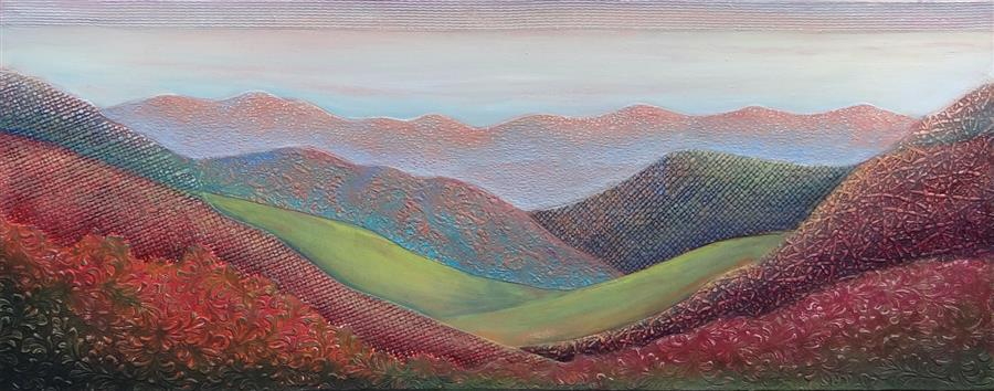 Original art for sale at UGallery.com   Valley of Visions by Brit J Oie   $1,575   mixed media artwork   16' h x 40' w   ..\art\mixed-media-artwork-Valley-of-Visions