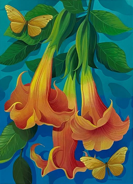Original art for sale at UGallery.com   Trumpet Flowers and Butterflies by Johnny Karwan   $500   acrylic painting   22' h x 16' w   ..\art\acrylic-painting-Trumpet-Flowers-and-Butterflies