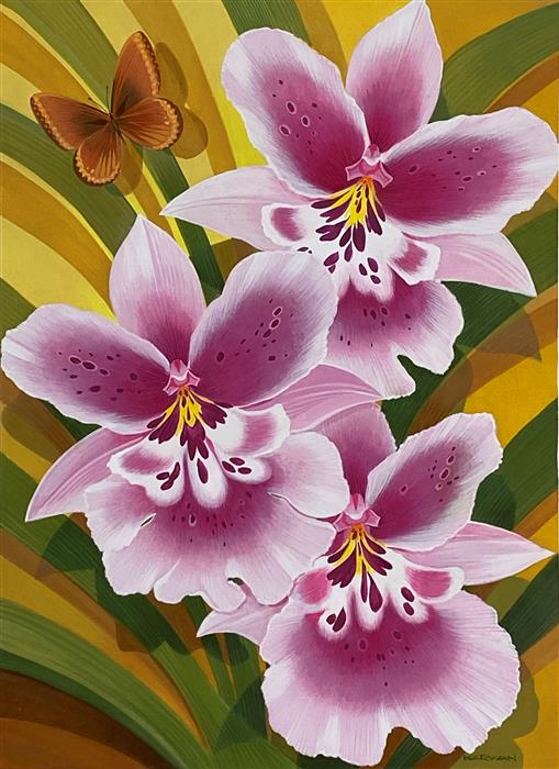 Original art for sale at UGallery.com | Orchids and Butterfly by Johnny Karwan | $500 | acrylic painting | 22' h x 16' w | ..\art\acrylic-painting-Orchids-and-Butterfly