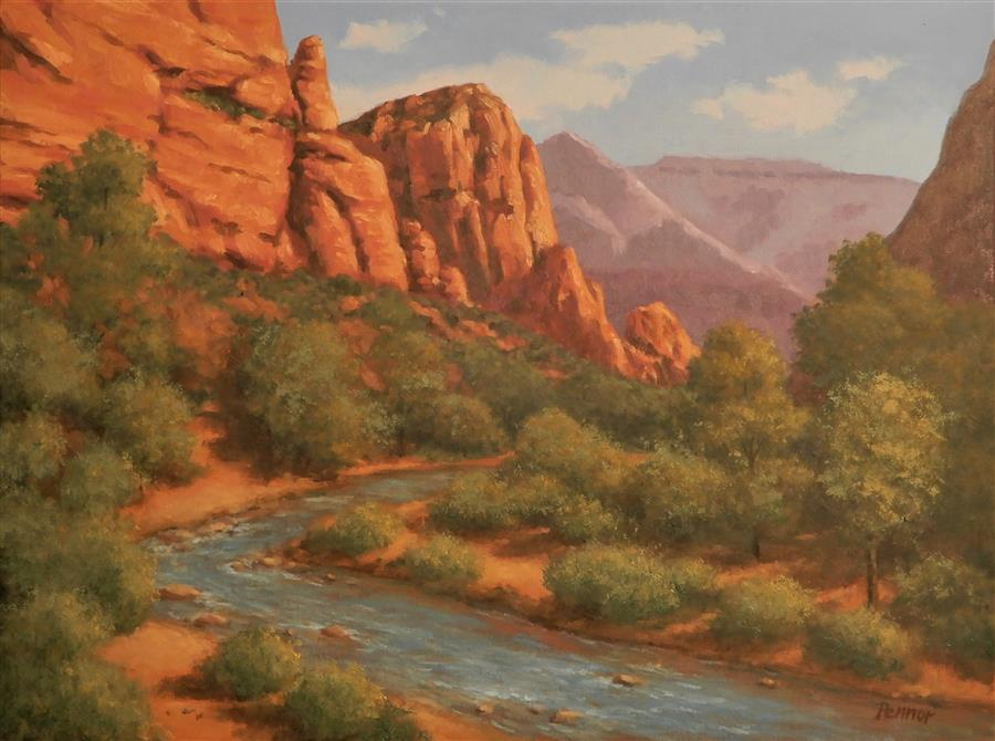 Original art for sale at UGallery.com | Zion National Park by Robert Pennor | $1,150 | oil painting | 18' h x 24' w | ..\art\oil-painting-Zion-National-Park-72255