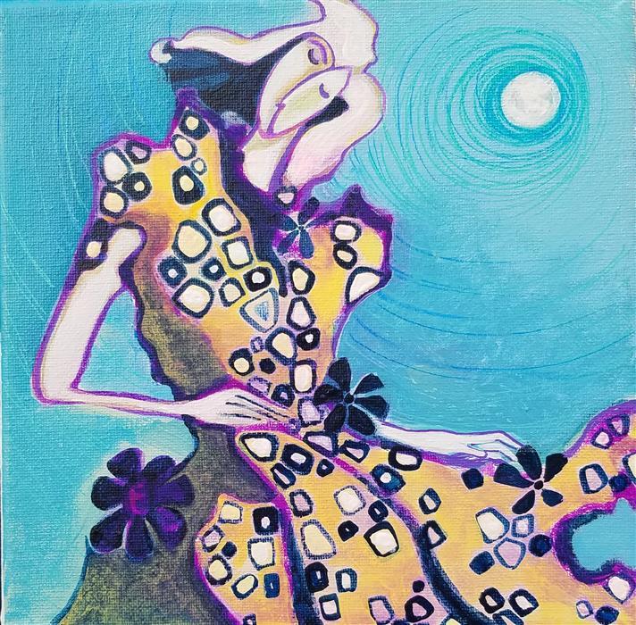 Original art for sale at UGallery.com | Dancing under the Moonlight by Diana Elena Chelaru | $350 | acrylic painting | 8' h x 8' w | ..\art\acrylic-painting-Dancing-under-the-Moonlight