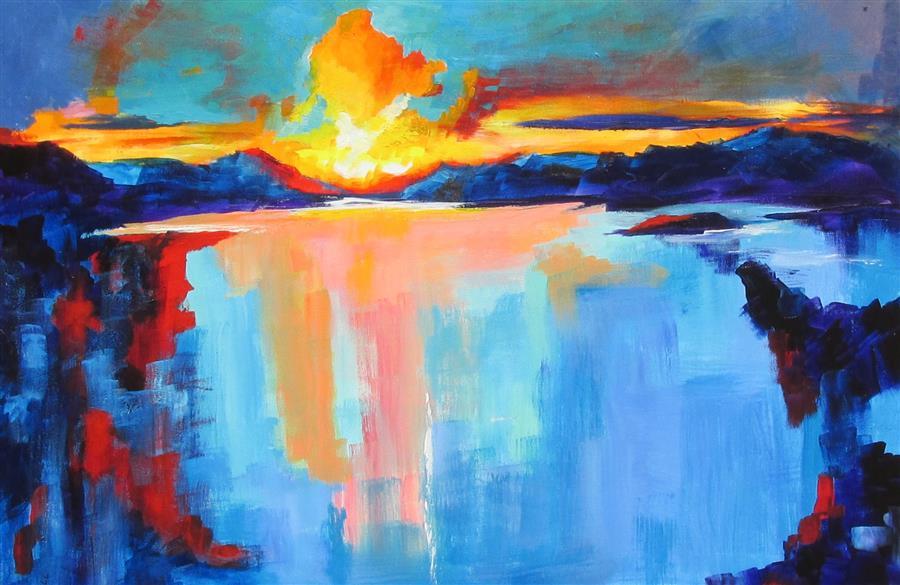 Original art for sale at UGallery.com | Sunset Over Paris Landing by Weldon Ball | $1,200 | acrylic painting | 24' h x 36' w | ..\art\acrylic-painting-Sunset-Over-Paris-Landing