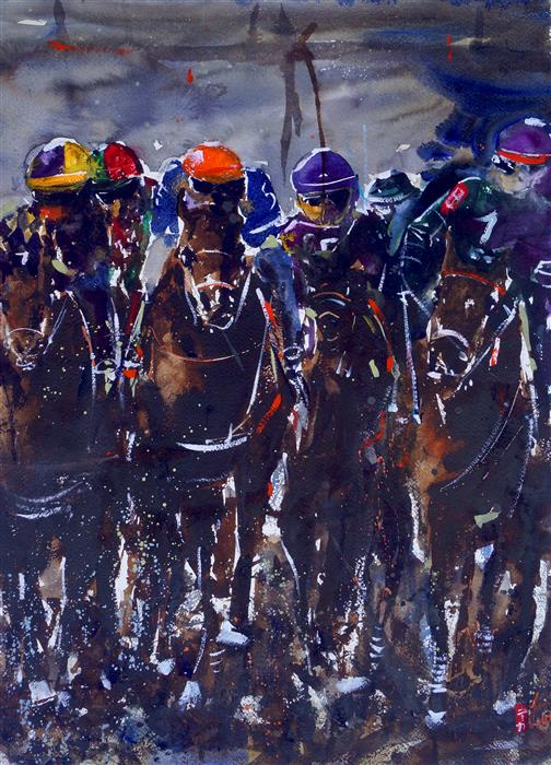 Original art for sale at UGallery.com | Derby III by James Nyika | $900 | watercolor painting | 24' h x 18' w | ..\art\watercolor-painting-Derby-III