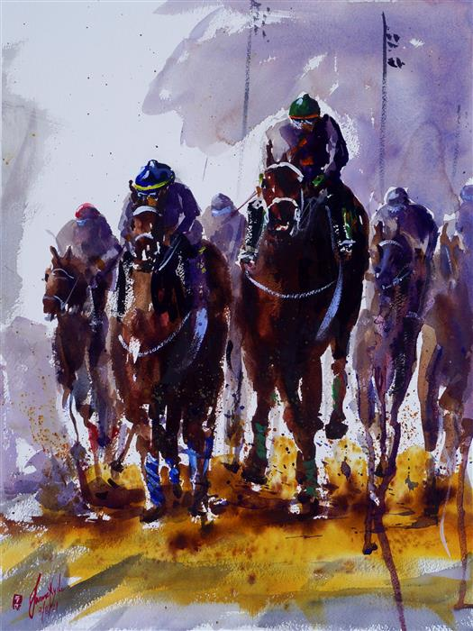 Original art for sale at UGallery.com | Derby IV by James Nyika | $900 | watercolor painting | 24' h x 18' w | ..\art\watercolor-painting-Derby-IV