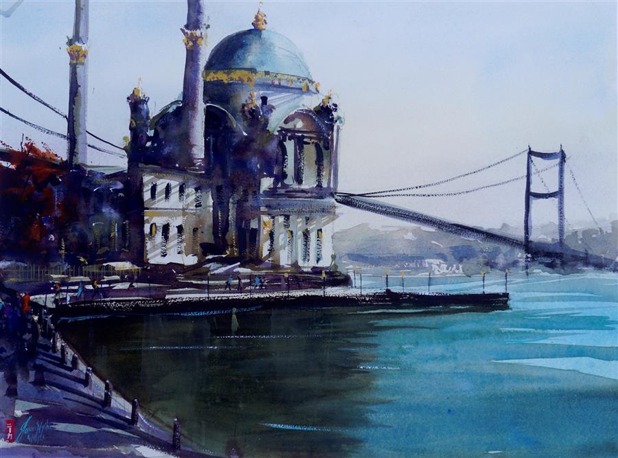 Original art for sale at UGallery.com | Bosphorus by James Nyika | $800 | watercolor painting | 18' h x 24' w | ..\art\watercolor-painting-Bosphorus