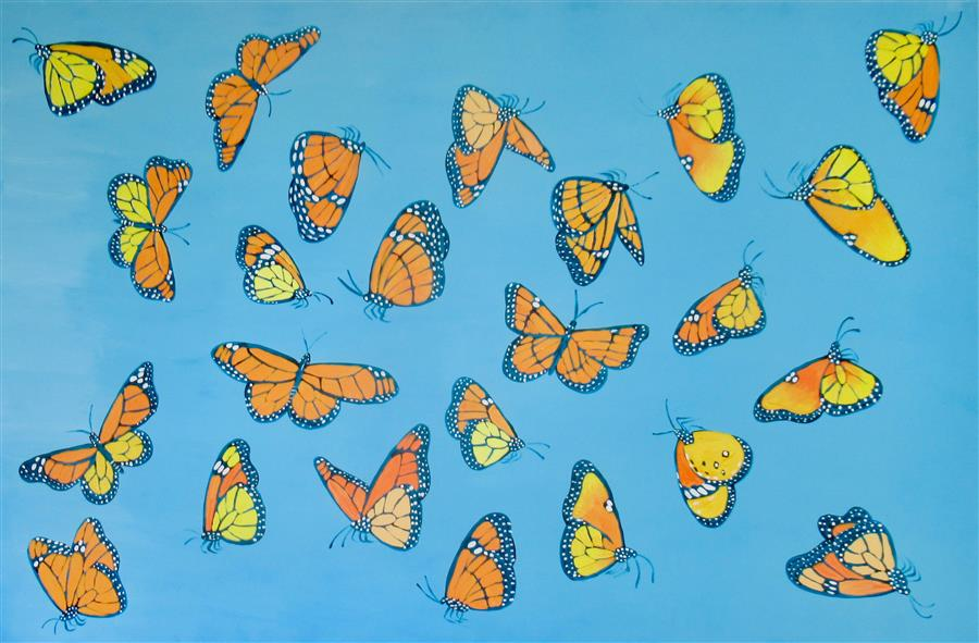 Original art for sale at UGallery.com | Monarch Butterflies 2 by Natasha Tayles | $900 | acrylic painting | 24' h x 36' w | ..\art\acrylic-painting-Monarch-Butterflies-2