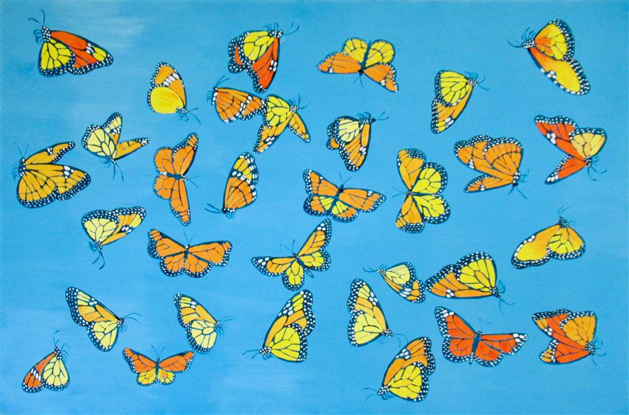 Original art for sale at UGallery.com | Monarch Butterflies 3 by Natasha Tayles | $900 | acrylic painting | 24' h x 36' w | ..\art\acrylic-painting-Monarch-Butterflies-3