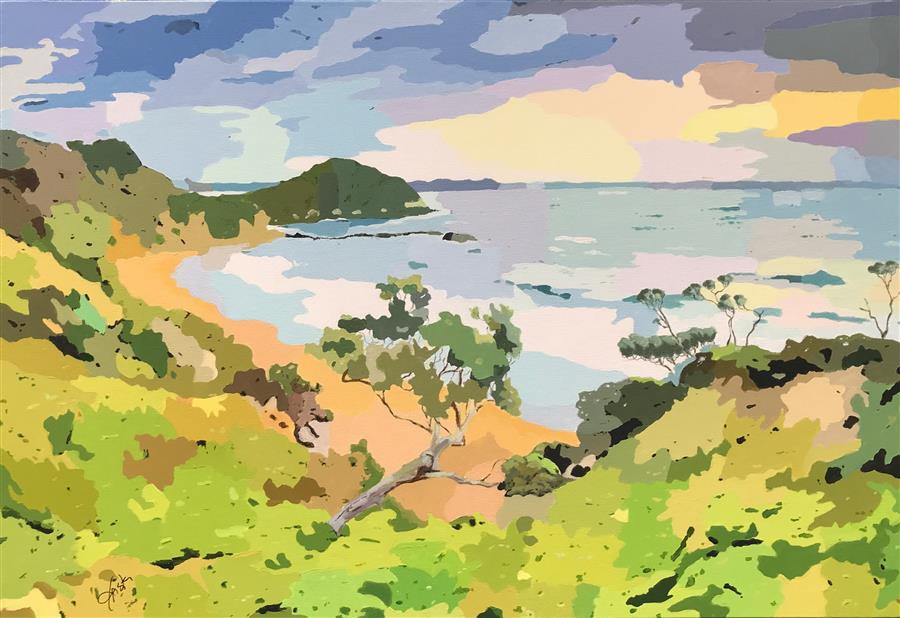 Original art for sale at UGallery.com | Costal Impressions - Sunset Over the Bay by John Jaster | $1,300 | acrylic painting | 24' h x 36' w | ..\art\acrylic-painting-Costal-Impressions-Sunset-Over-the-Bay