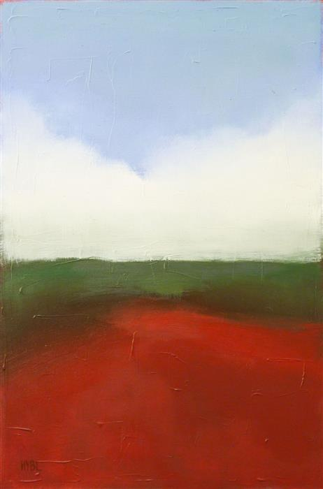 Original art for sale at UGallery.com | Red Field by Heidi Hybl | $2,200 | oil painting | 36' h x 24' w | ..\art\oil-painting-Red-Field-72276