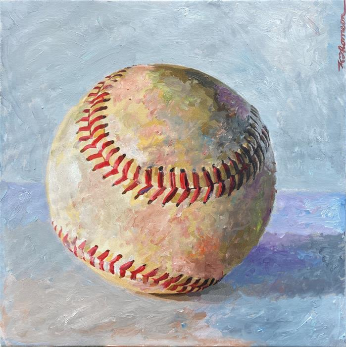 Original art for sale at UGallery.com   Portrait of a Baseball by Keith Thomson   $675   mixed media artwork   12' h x 12' w   ..\art\mixed-media-artwork-Portrait-of-a-Baseball