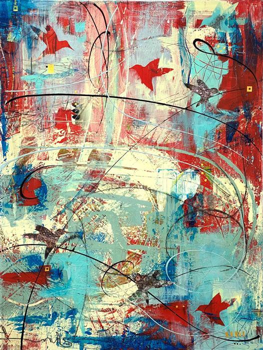Original art for sale at UGallery.com   Take Flight by Linda Shaffer   $1,575   mixed media artwork   40' h x 30' w   ..\art\mixed-media-artwork-Take-Flight