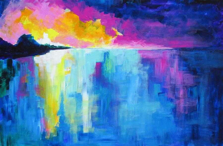 Original art for sale at UGallery.com | Sunrise in the Caribbean by Weldon Ball | $1,200 | acrylic painting | 24' h x 36' w | ..\art\acrylic-painting-Sunrise-in-the-Caribbean
