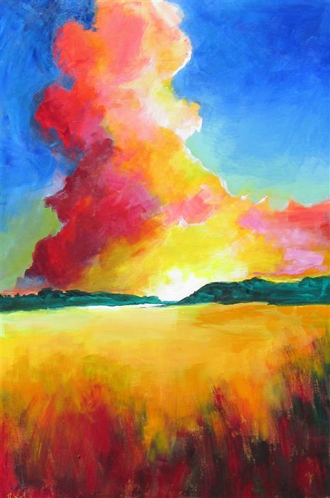 Original art for sale at UGallery.com | Hidden Sun by Weldon Ball | $1,200 | acrylic painting | 36' h x 24' w | ..\art\acrylic-painting-Hidden-Sun