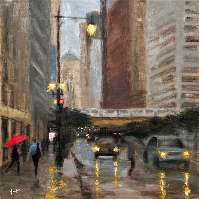Original art for sale at UGallery.com | Rainy Afternoon, La Salle Street by Yangzi Xu | $525 | oil painting | 16' h x 16' w | ..\art\oil-painting-Rainy-Afternoon-La-Salle-Street