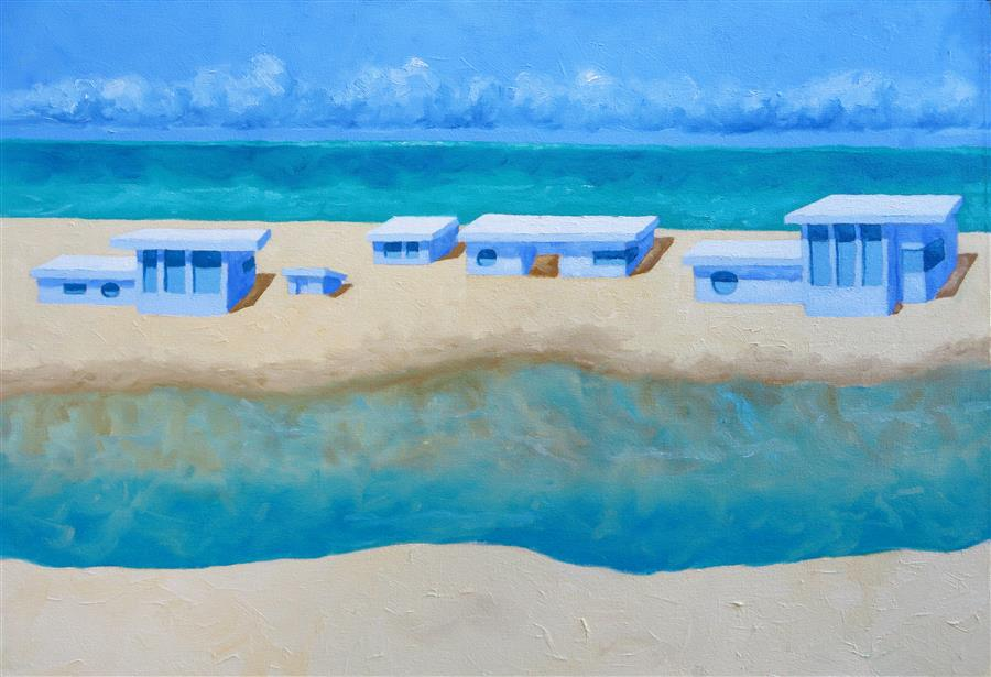 Original art for sale at UGallery.com | Beach House Dream by Mitchell Freifeld | $875 | oil painting | 18' h x 26' w | ..\art\oil-painting-Beach-House-Dream