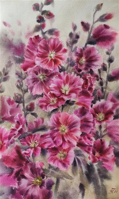 Original art for sale at UGallery.com | Lush Malva by Irina Pronina | $950 | watercolor painting | 21' h x 15' w | ..\art\watercolor-painting-Lush-Malva