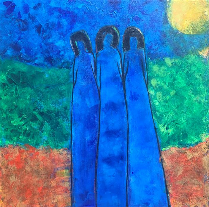 Original art for sale at UGallery.com | Three Part Harmony 2 by Robin Okun | $1,850 | acrylic painting | 36' h x 36' w | ..\art\acrylic-painting-Three-Part-Harmony-2