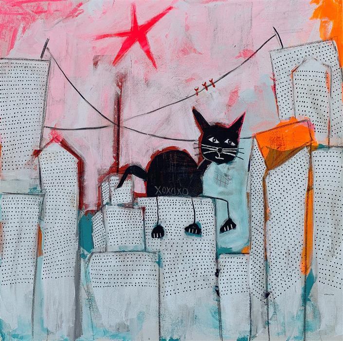 Original art for sale at UGallery.com   Kitty Loves the City Life by Rick Hamilton   $2,400   acrylic painting   36' h x 36' w   ..\art\acrylic-painting-Kitty-Loves-the-City-Life